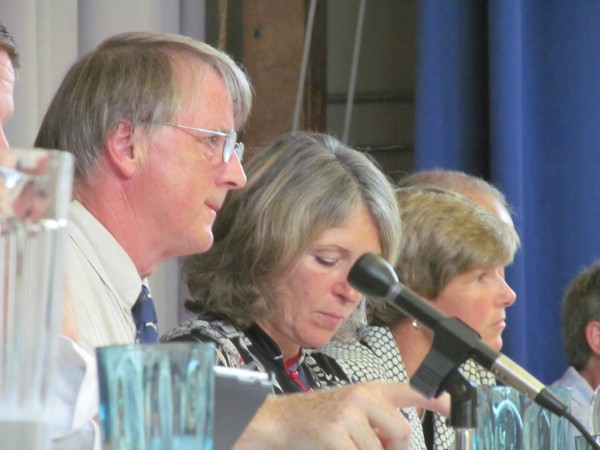 South Portland Mayor Tom Blake, left, is joined by City Clerk Susan Mooney and Corporation Counsel Sally Daggett during a City Council meeting Monday night. The council considered a proposed ordinance that aimed to block the transportation of bituminous oil through the city's port.