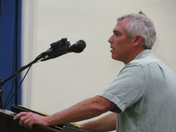 Chris Gillis, a longtime employee of the Portland Pipe Line Corp., tells the South Portland City Council Monday night that his company is a &quotgood corporate citizen&quot that pays $700,000 in local property taxes each year.