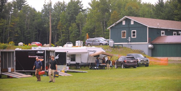 Teams arrive early for the test and tune on Friday at the East Branch Sno-Rovers club in Medway. The snowmobile club is hosting its second annual grass drag races on Saturday and Sunday.