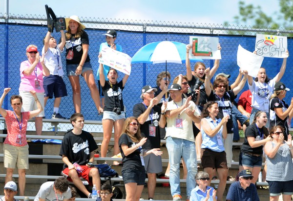 Fans of the U.S. East team from Pennsylvania cheer on their team in the Senior League World Series semifinal game against Hawaii on Friday.  U.S. East won the game 9-4 and advances to the championship game on Saturday.