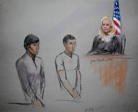 Defendants Dias Kadyrbayev (L) and Azamat Tazhayakov are pictured in a courtroom sketch, appearing in front of Federal Magistrate Marianne Bowler at the John Joseph Moakley United States Federal Courthouse in Boston, Massachusetts May 1, 2013.