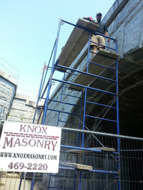 Friends of Fort Knox masonry project underway.