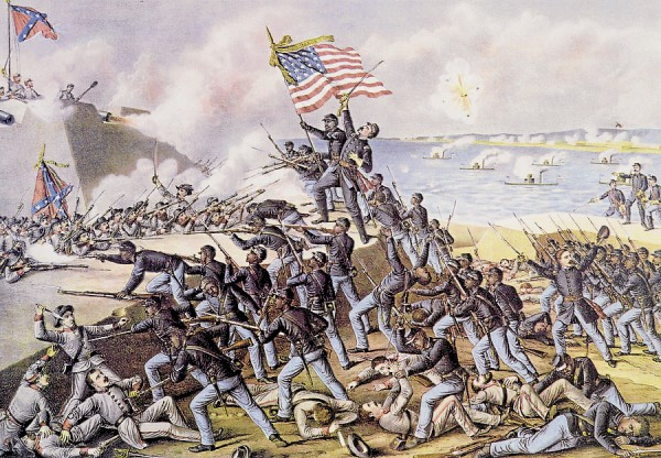 As his black soldiers from the 54th Massachusetts Infantry Regiment scale the low parapet of Fort Wagner on Morris Island near Charleston, S.C., Col. Robert Gould Shaw thrusts his sword skyward as he is shot and killed beside the regimental flag bearer. The 9th Maine Infantry participated in the same assault. This fanciful lithograph contains several errors; the most egregious places the attack in the daytime. The actual assault took place after sunset.