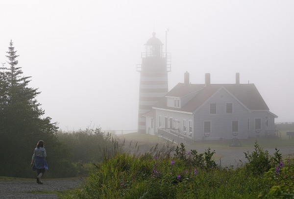 Morning fog burning off at West Quoddy Head Lighthouse