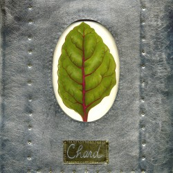 """Chard"", acrylic on paper, tin, brass rivets"