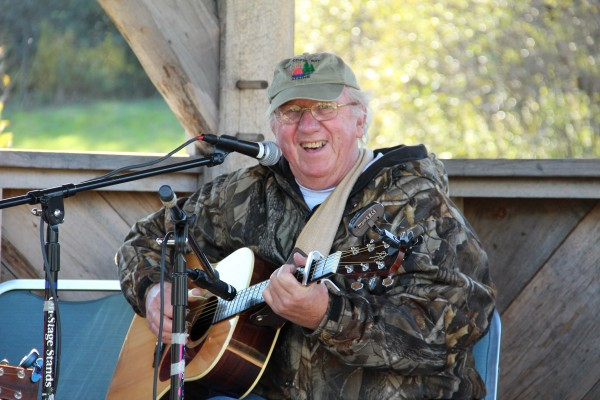 Dave Wilder performing in the outdoor bandstand.