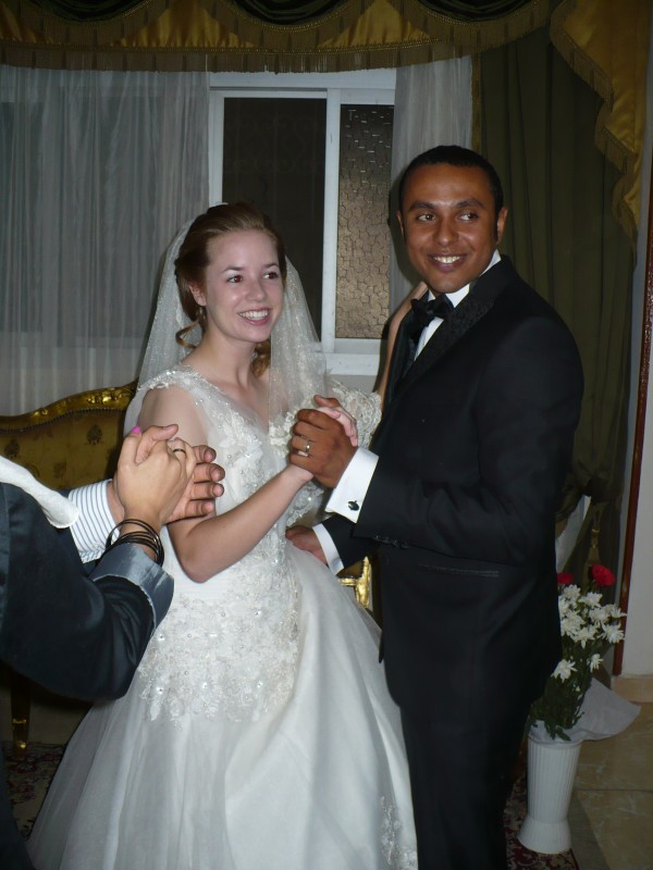 Bangor, Maine native and former John Bapst student Ellen Umphrey, left, and her husband Mohamed Shuman during their wedding day on June 14, 2013. Umphrey recently left her husband and home in Cairo because of Egyptian unrest.