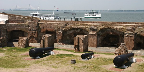 Tour boats ferry visitors to Fort Sumter National Monument, located in Charleston Harbor, S.C. Once three stories tall, the fort's walls were destroyed by Union artillery fire during the Civil War. Only the lowest wall still stands. In July 1863 Union troops attacked Fort Wagner, located on nearby Morris Island, in an effort to place Federal cannons nearer Fort Sumter.