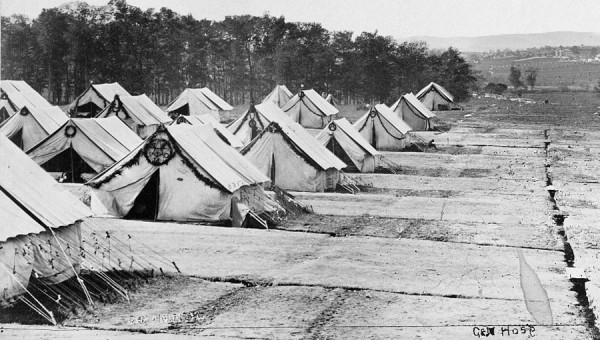 "After the Battle of Gettysburg, hospitals were established in private and public buildings throughout Adams County, Penn. The War Department created this ""general hospital,"" known as Camp Letterman, east of Gettysburg to care for badly wounded soldiers."