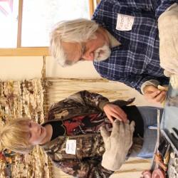 Dick Klyver demonstrating pewter casting.