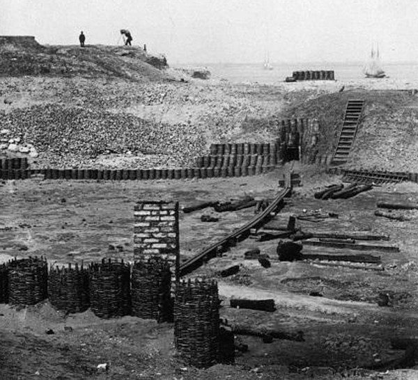 In March 1865 George Barnard photographed the interior ruins of Fort Sumter at Charleston, S.C. He pointed his camera toward Charleston on the northern horizon.