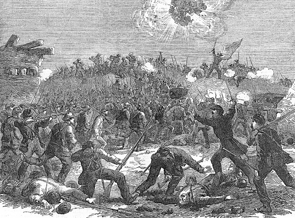 As Union infantrymen successfully scale the southeast bastion of Fort Wagner on Morris Island after dark on Saturday, July 18, 1863, a color bearer unfurls the American flag (right). Counterattacking Confederates swarm on the fort's parapets (center) and fire on the Union soldiers. Among the Federal regiments participating in the charge was the 9th Maine Infantry, commanded by Col. Sabine Emery. This lithograph adequately depicts the furious fighting that took place at Wagner that night; the attack ended in a Union defeat. Fort Wagner blocked Union access to Charleston, S.C.
