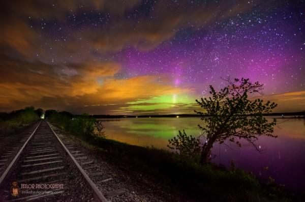Aurora at Unity Pond in Maine.
