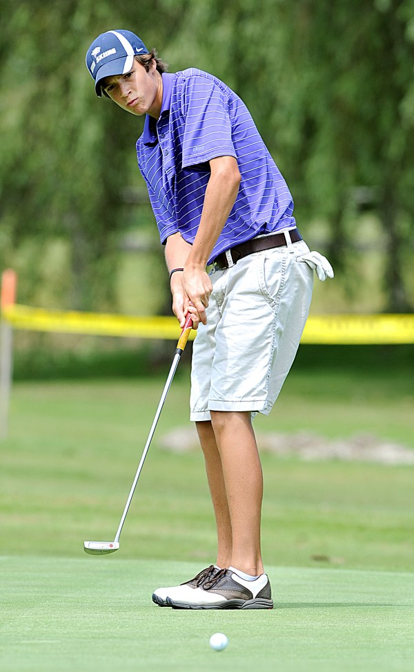 Will Kannegieser from Minot putts on a green at Val Halla Golf Course in Cumberland during the final round of the Maine Junior Amateur Championship Wednesday. Kannegieser won the tournament with a two day total of 148.
