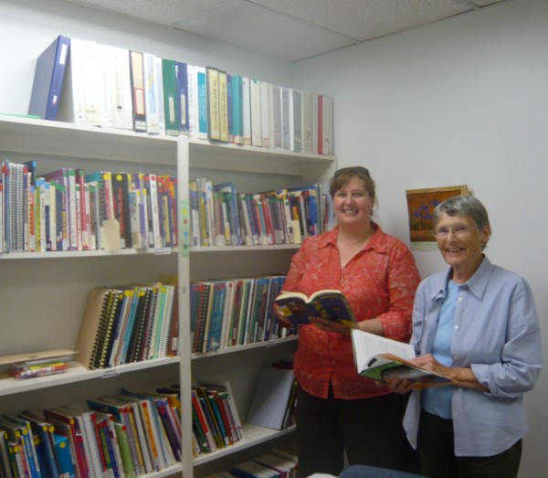 Terrie Hennessay and Mary Ann Harlan volunteered to organize Peace Education Library at Peace & Justice Center of Eastern Maine. Lois Marchand, not pictured also assisted.  A workshop with  for educators and community members will be held on October 7th at the Center.