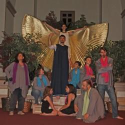 Jesus is played by Stefan Metropolous, (left to right) Irene Higgins, Kelly Nelson-Santiago, Kristyn Mallcoh, Jennica Joseph-Kearns, Lisa Metropolous, Dennis Hamrick, Nikolai Flanzala, Ivan Flanzala, and the angel Canda Santiago-Nelson.