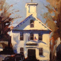 """The Adams School in Castine"", 5"" x 7"" oil by Dan Graziano, featured artist in the thirteenth Castine Historical Society Art Show and Sale scheduled for August 16-18."