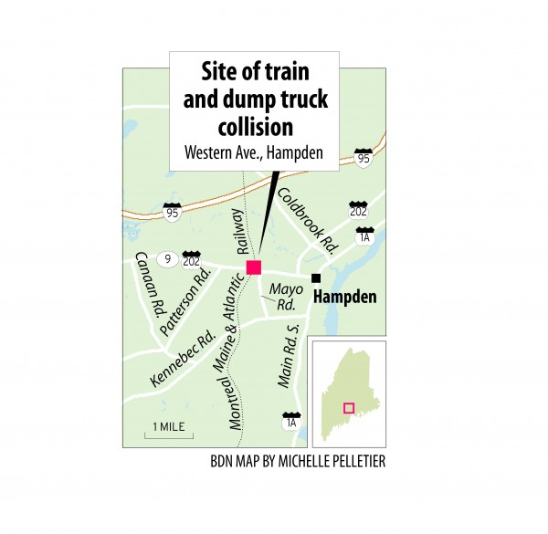 Map of train and dump truck accident.