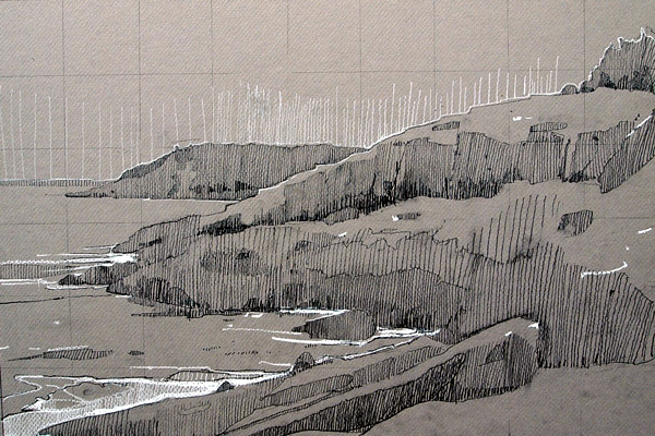 Near the Shore Path, 2013, graphite and conté on paper by Robert Pollien