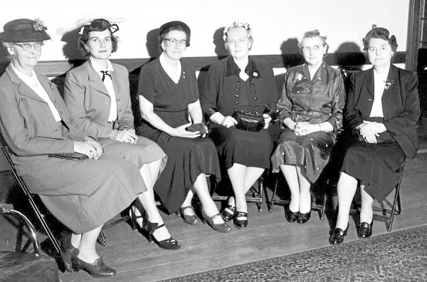 Officers were elected by the Athene Club at its annual luncheon meeting held Thursday noon, May 14, 1953 at the Tarratine Club. The new officers include (from left) Mrs. Lewis P. Smith, second vice president; Miss Jessie L. Fraser, secretary; Mrs. Roland J. Carpenter, president; Mrs. Ernest F. Jones, treasurer; Mrs. Priscilla E. Knowlton, first vice president; and Mrs. Orson Berry, assistant treasurer.