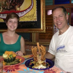 "Tessa Wood with her Dad (who is about to tackle a crab dish called ""Godzilla"") at ""Jacques-Imo's"" Restaurant in New Orleans."