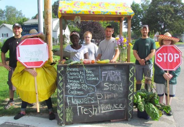 School Garden Army selling their weekly harvest at their farm stand near Oceanside East High School.