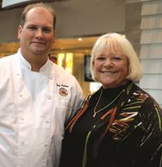 Andrew Omo, Executive Chef of Linda Bean's Perfect Maine Restaurant in Freeport, and Linda Bean.