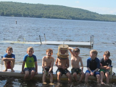 Lake bottom explorers of the Camden Area Cub Scouts: pictured (left to right) Wesley Henderson, Ethan Butler, John Pessara, Zackary Woehler, Finn Mills, Aidan Hebert, and Owen Weber.