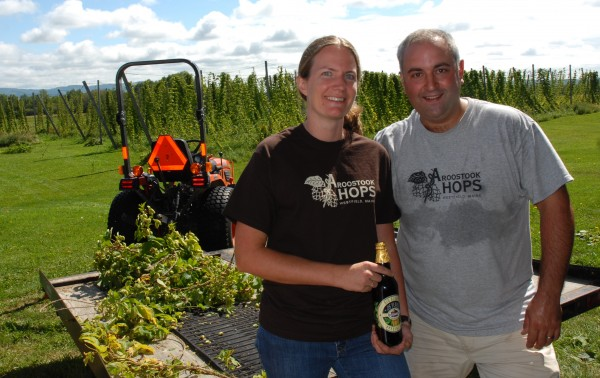 Krista Delahunty and Jason Johnston welcomed more than two dozen volunteers to their annual hops harvesting party at Aroostook Hops this weekend.