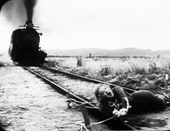 Poor Pauline - tied to the tracks (from Teddy at the Throttle, an old silent film).