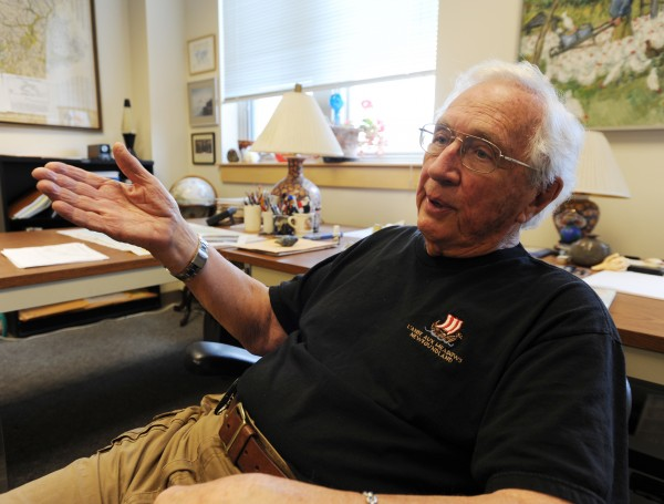 Dr. Harold Borns Jr. sits in his office at the University of Maine on Thursday, Aug. 1, 2013, talking about climate change and the impact on salmon in the Gulf of Maine.