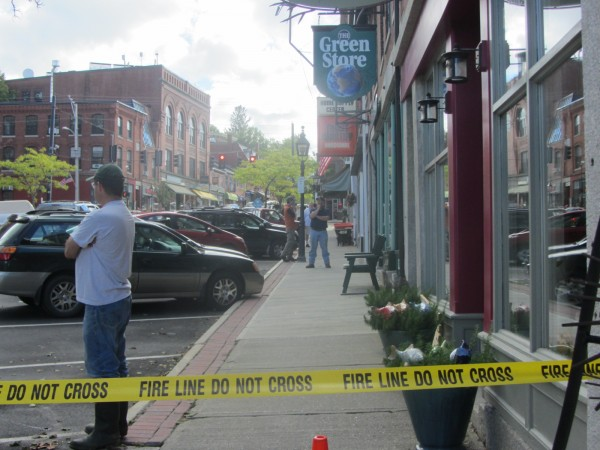 A section of lower Main Street in Belfast was closed off Saturday afternoon after a bomb threat was called in, according to police.