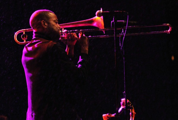 Troy &quotTrombone Shorty&quot Andrews opens for the Avett Brothers at the Darling's Waterfront Pavilion stage on the Bangor Waterfront on Friday night.