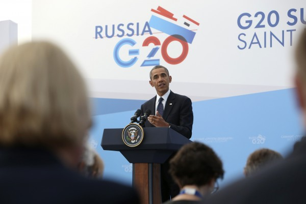 U.S. President Barack Obama speaks to the media during a news conference at the G20 summit in St.Petersburg on September 6, 2013.