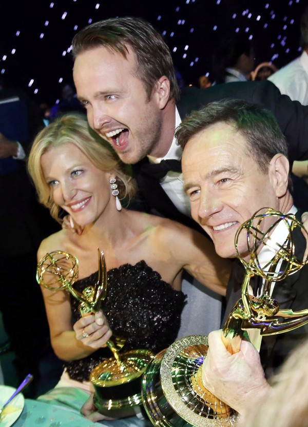 Actors Anna Gunn, Aaron Paul and Bryan Cranston celebrate the success of &quotBreaking Bad&quot at the Governors Ball for the 65th Primetime Emmy Awards in Los Angeles September 22, 2013.