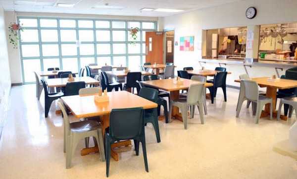 The cafeteria in the women's block, which is one of the newer facilities at the Maine Correctional Center in Windham.