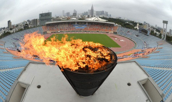 A flame relume on the Olympic cauldron, which was used the 1964 Tokyo Olympics, during an event celebrating Tokyo being chosen to host the 2020 Olympic Games, at the National Stadium in Tokyo, in this photo taken by Kyodo September 8, 2013.