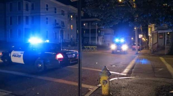 Police investigate a reported stabbing at the intersection of Blake and Birch streets in Lewiston late Tuesday night.