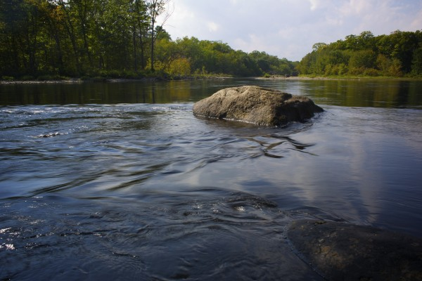 Wassataquoik Stream converges with the East Branch of the Penobscot River in the area where Elliotsville Plantation Inc. has opened 40,000 acres to hunting and other recreational use.