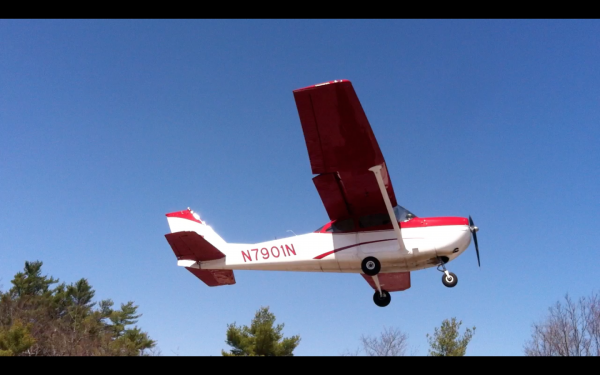 A Maine Warden Service plane takes off from the Maine Turnpike in Litchfield on Friday, April 26, 2013.