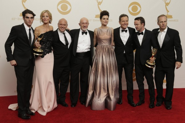 &quotBreaking Bad&quot cast members backstage the 65th Annual Primetime Emmy Awards on Sunday, September 22, 2013, at Nokia Theatre, L.A. Live, in Los Angeles.
