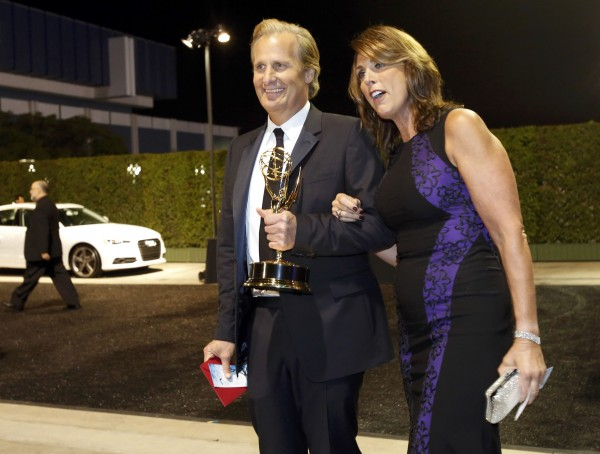 Jeff Daniels, Outstanding Lead Actor for a Drama Series for &quotThe Newsroom&quot and wife Kathleen, arrive at the Governors Ball for the 65th Primetime Emmy Awards in Los Angeles September 22, 2013.