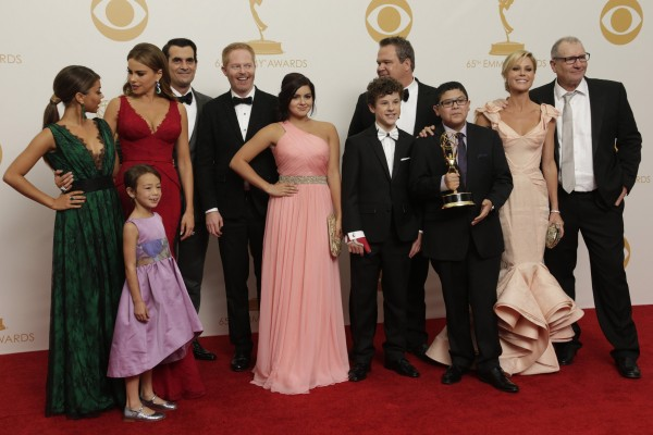 The cast of &quotModern Family&quot backstage the 65th Annual Primetime Emmy Awards on Sunday, September 22, 2013, at Nokia Theatre, L.A. Live, in Los Angeles, California.