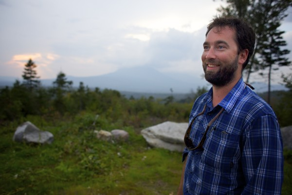Lucas St. Clair talks about a  Mt. Katahdin at a lookout where Elliotsville Plantation Inc. has opened 40,000 acres to hunting and other recreational use.