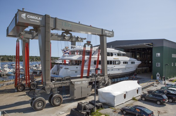 The Front Street Shipyard in Belfast has installed a new 485-ton capacity lift (pictured here), the largest north of Rhode Island, to be able to work on larger boats and superyachts.