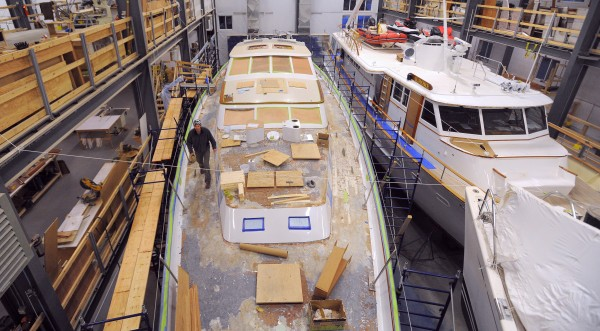 Large yachts undergoing work at the Front Street Shipyard in Belfast.