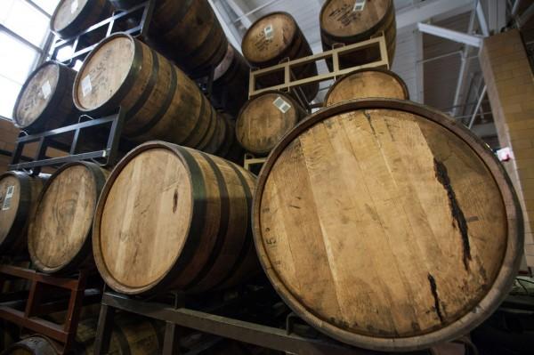 Barrels of Sam Adams Utopia beer age at Boston Beer Co.