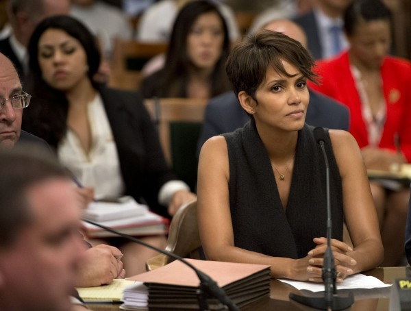 Halle Berry testifies before the Assembly Committee on Public Safety at the state Capitol on Tuesday, June 24, 2013, in Sacramento, California, regarding Senate bill SB 660, which would restrict paparazzi from harassing people. The committee voted in favor of the bill, despite opposition from advocates who warned it could hamper news-gathering operations.