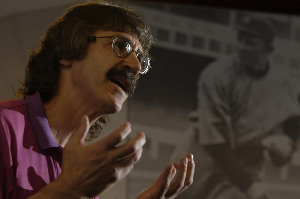 "Ed Rice, author of ""Baseball's First Indian – Louis Sockalexis: A Penobscot Legend, Cleveland Indian,"" speaks about Sockalexis at the 17th annual Cooperstown Symposium on American Culture at the National Baseball Hall of Fame in Cooperstown, N.Y., in 2005."