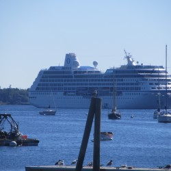 Sen. Collins christens new cruise ship in Rockland